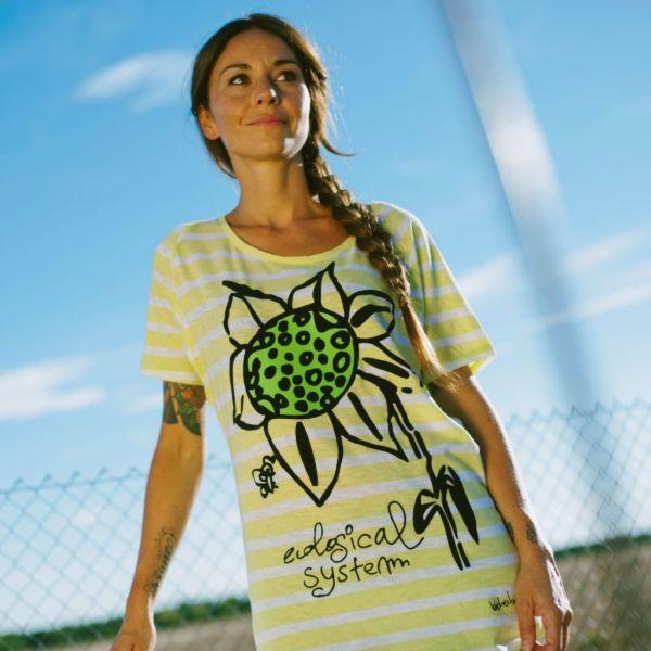 camiseta rayas mujer algodón orgánico bichobichejo girasol system